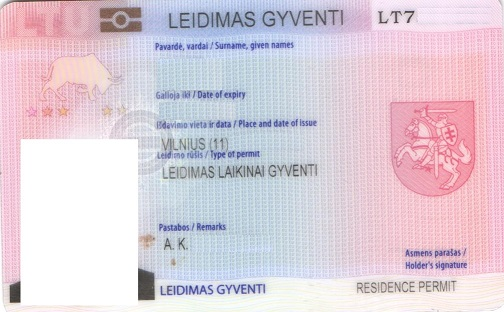 Temporary residence permit in Lithuania card